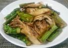 アスパラガスと舞茸のポン酢マヨネーズ炒め