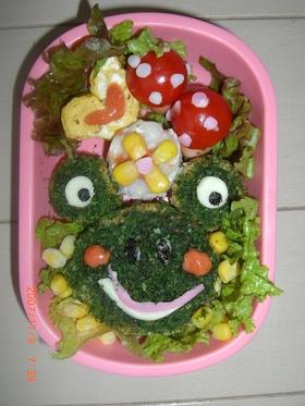 カエルさんでお好み焼き弁当☆キャラ弁