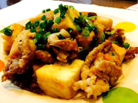 豚コマと厚揚げの人参ミゾレの肉味噌生姜炒