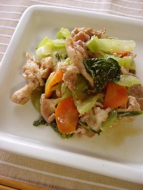 チンゲンサイと豚肉のとろみ炒め。