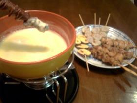 焼き鳥と里芋さつまいもでチーズフォンデュ
