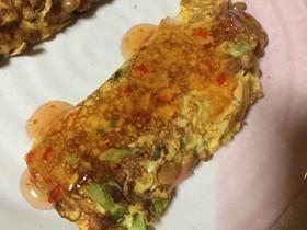 使い切りレシピ!納豆と大根葉のオムレツ