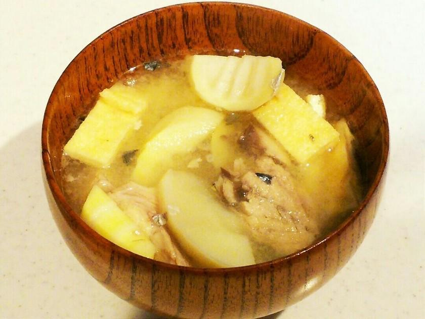 タケノコのお味噌汁♪信州の定番サバ缶で♪