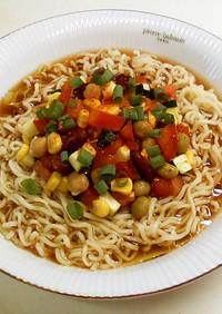 野菜お豆のオリーブ香る冷やし味噌ラーメン