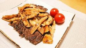 牛ヒレ肉のエリンギバター醤油マスタード♥