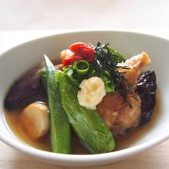 夏野菜と鶏の唐揚げスープ