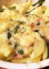 アヒージョ風ポテトとアスパラのチーズ焼き
