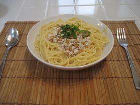 納豆でスープスパゲッティ