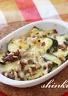 合挽き肉とズッキーニの味噌チーズ焼き