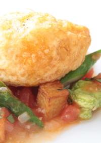 揚げ卵と季節野菜のソテー