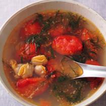 はまぐりとディルのスープ
