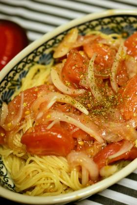 仕込んで放置のトマトの冷製パスタ