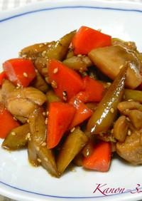 甘酢が決め手♡鶏肉とゴボウ、人参の煮物