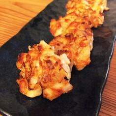鶏胸肉と玉ねぎの唐揚げ風味の落とし焼き♪