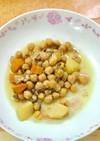 ひよこ豆とタイガーナッツのベーコン炒め煮