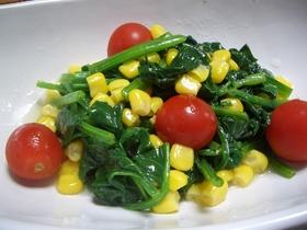 彩りも鮮やか ほうれん草とコーンのサラダ