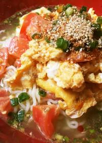 トマトと卵の台湾風冷やしラーメン☆