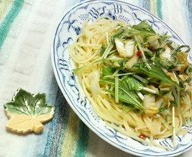 ✿ポッと温かい❀白菜漬けと水菜の✿パスタ