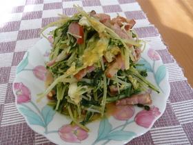 水菜とベーコンの中華卵とじ