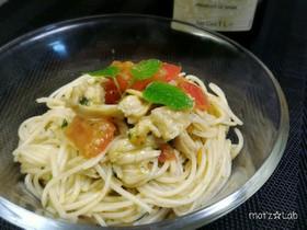 トマトと鶏肉の和風ジェノベーゼ冷製パスタ
