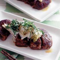 薄切り肉の重ねステーキ