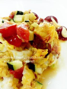 ズッキーニとトマトとコンビーフの炒り卵