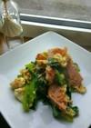 小松菜とベーコンのピリ辛卵ソテー