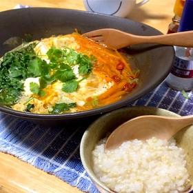 韓国風 辛いスープ 豆腐と卵&パクチー