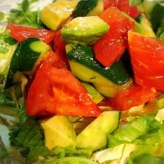 とまととアボカドきゅうりのナムル風サラダ