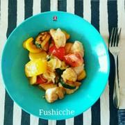 鶏肉と夏野菜の黒酢マリネの写真