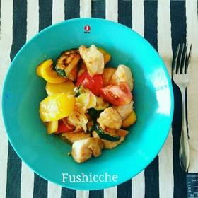 鶏肉と夏野菜の黒酢マリネ