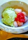 フンワリと「豆乳抹茶ムースと苺白玉」