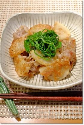 豚と長芋のソテー梅ガーリックソース