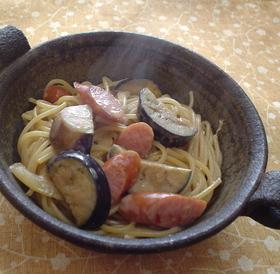 茄子の味噌マヨスパゲティ