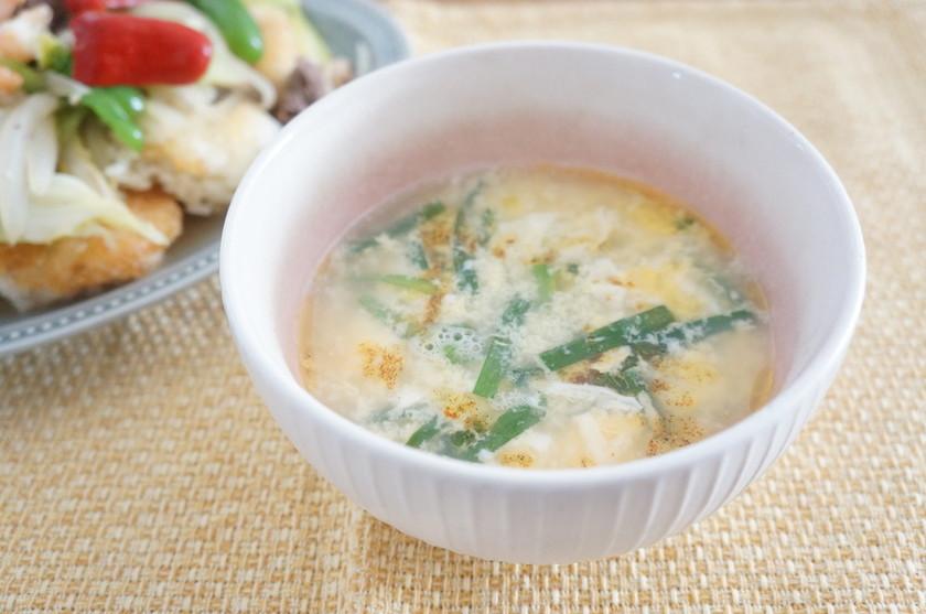 簡単3分!にらと玉子の酸辣湯スープ