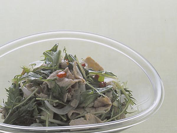 水菜と玉ねぎのピリ辛冷しゃぶ