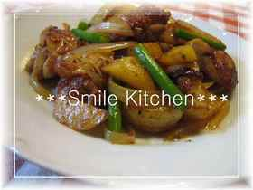 ✿鶏肉&ポテトのにんにく黒胡椒炒め✿