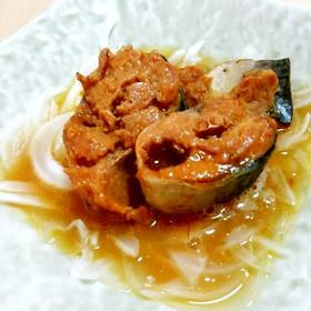 「サバ味噌缶と玉ねぎ」レンチンで簡単一皿