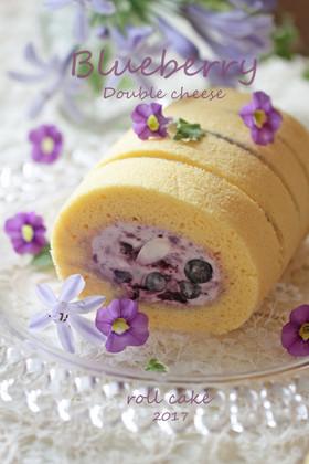 ブルーベリーとWチーズのロールケーキ