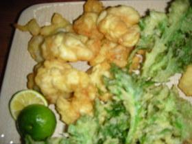 菊菜の天ぷらと白子の天ぷら