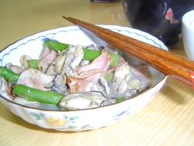 牡蠣ベーコン炒め