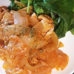 豚肉と玉ねぎのケチャマヨソー炒め