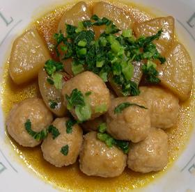 大根と鶏つくねのピリカラ煮