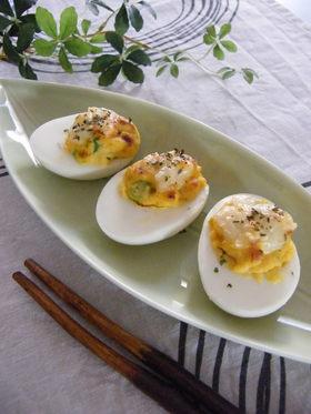 前菜にオススメ!卵ボートのツナマヨサラダ