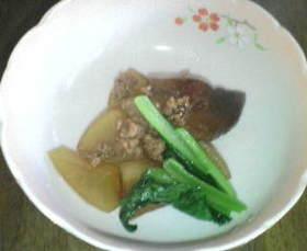 大根とキノコとミンチの煮物