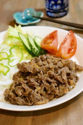 牛切り落とし肉の玉ねぎポン酢焼き*