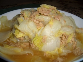 白菜とツナの蒸し煮