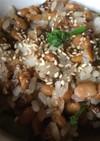 納豆とブロッコリー芯のチャーハン