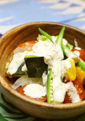 爽やか酸味♡夏野菜のヨーグルトマヨサラダ