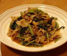 野沢菜と豚肉のコチュジャン炒め